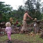 The coconut cutting station at the edge of Hedonisia's crater