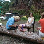 Christine getting a tattoo at Hedonisia