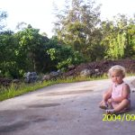 Althea sitting on the concrete pad behind Yoga Barn
